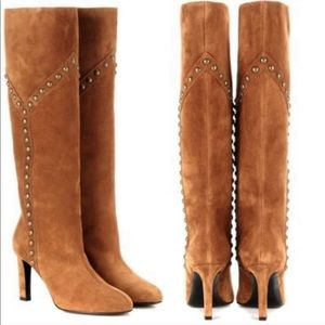 SAINT LAURENT Y Studded Suede Boots YSL NEW